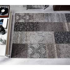 manhattan patchwork chenille black gold rug by flair rugs