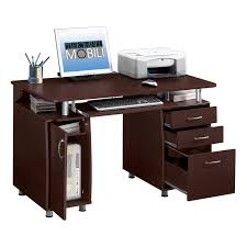 office desks with drawers. Techni Mobili Complete Computer Workstation With Cabinet And Drawers - Chocolate | Hayneedle Office Desks