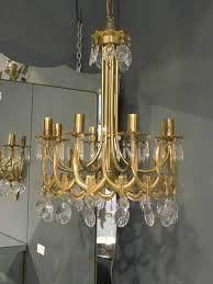 italian brass and glass chandelier c 1950