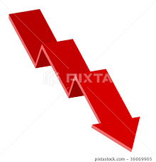 Down Arrow Chart Red Moving Down Arrow Financial Chart Stock Illustration