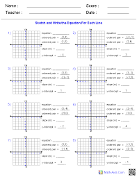 algebra 1 worksheets linear equations graphing lines given two ordered pairs worksheets writing smlf