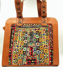 embroidered brown leather banjara bag boho leather bag embroidered shoulder bag patchwork tote bag boho shoulder bag tribal