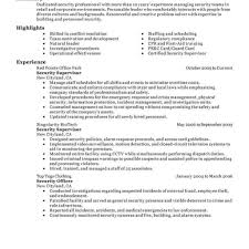 Security Guard Resume Supervisor Image Examples Resume Sample And