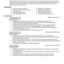 Security Guard Skills Resume Resume Objective Job Supervisor