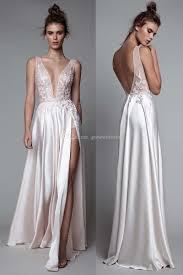 2017 Berta Sexy Slipt White Silk Evening Dresses Deep V Plunging