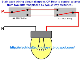 Stair case wiring circuit diagram OR How to control a lamp from two different places by two 2 way switches electricaltechnology1.blogspot.com_ staircase wiring circuit diagram electrical technolgy on staircase wiring circuit diagram 2 way switch