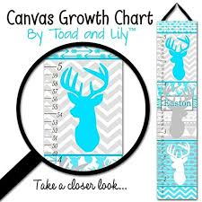 Canvas Growth Chart Turquoise Blue Deer Head Silhouette