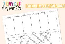 Printable Weekly Calendar I Heart Planners