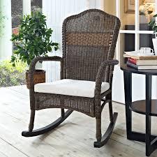c coast mocha resin wicker rocking chair with beige