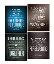 Historical Quote Motivational Posters Success Wall Art Inspired By Famous Leaders And Thinkers 8x10 Inch Set Of 4