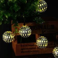 outdoor moroccan lighting. Moroccan Lantern Solar Lamp Premium Quality Waterproof LederTEK 10LED Powered Fairy Metal Globe String Light Outdoor Lighting