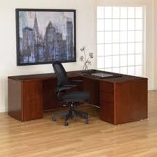 l shaped wood desk dark cherry wood