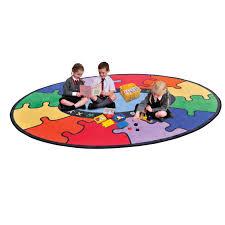 kids abc rainbow puzzle learning rug round