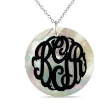 38 1mm mother of pearl disc monogram pendant in sterling silver 3 initials