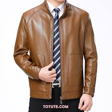 leather jacket men for thicker winter men s middle plus velvet large size brown