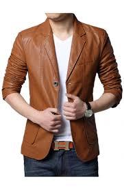 men s slim fit tan brown leather blazer