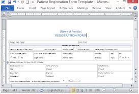 Microsoft Word Application Form Template Free Patient Registration Form Template