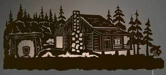 42 mining cabin in pine forest led back lit lighted metal wall art