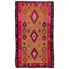 vintage 1955 beige pink kilim rug for