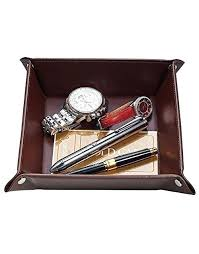 jewelry valet tray leather catchall for men key wallet coin box travel mens