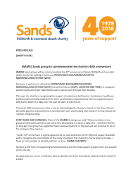 Press Release Templet Press Release Template For Sands Groups Sands Stillbirth And