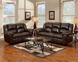 Overstuffed Living Room Furniture Bonded Leather Reclining Sofa Black Color Overstuffed Arms Seats