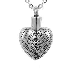 whole lily snless steel vine angel wing heart cremation jewelry ashes pendant keepsake memorial urn necklace with gift bag and chain pendant