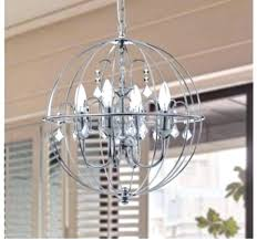 chrome globe chandelier copper orb incredible contemporary silver crystal polished