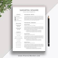 Clean Resume Template 2019 2020 Cover Letter Cv Template Word Modern Resume Professional Resume The Samantha Resume