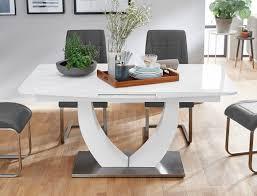 Tischgruppe Säulentisch Ulrik Weiß 4 Stühle Gemma Grau Essgruppe
