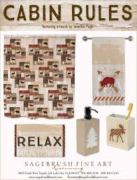 cabin rules collection includes fun accessories to decorate your cabin bathroom in the woods including shower