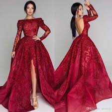 Design Your Own Red Carpet Dress 2019 Shining Prom Dresses Sequins Lace Long Sleeve Backless Sweep Train Evening Party Red Carpet Gowns Plus Size Vestidos De Fiesta