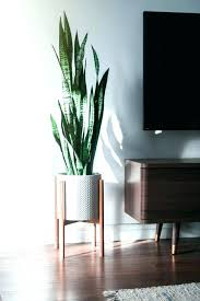 s modern wood leg planter cylinder modern planter with stand