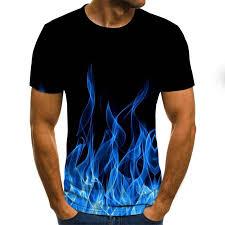 2020 new flame <b>men's</b> T-shirt <b>summer fashion short</b>-<b>sleeved</b> 3D ...