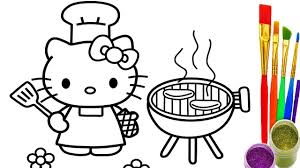 Small Picture Hello Kitty Coloring Pages How to draw Kitty BBQ Party Videos