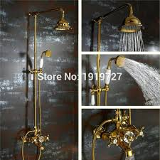 terrific gold shower head waterfall gold shower system with exposed hot cold valve shower head hand