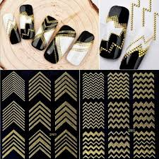 3d Nail Stickers Stripes Wave Line Diy Nail Art Adhesive Manicure Transfer Sticker Water Slide Nail Tips Stickers Gold Metal Dp01