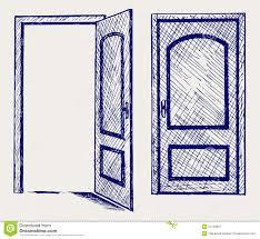 Half open door drawing Black Open Door Dreamstimecom Open Door Stock Vector Illustration Of Design Image 27139897
