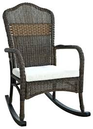 resin wicker rocker chairs indoor outdoor patio porch mocha rocking chair with beige cushion tropical by