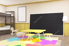 children s room with large blackboard yellow table and chairs toy horse and bed concept of homeschooling 3d rendering mock up photo by denisismagilov