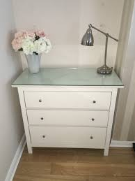 ikea hemnes white chest of drawers with glass top