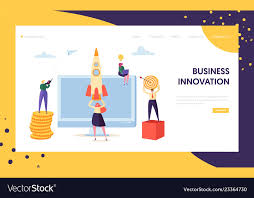 Creative Business Innovation Startup Landing Page Vector Image