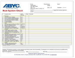 check list example example boat system checklist american boat and yacht council