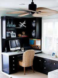 this room office looks more clean bright and charm better than another design because this home office design use color combination of blue white also brown blue white home office