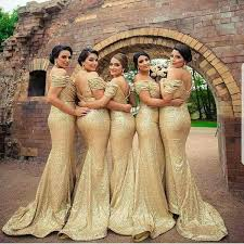 2018 Off Shoulder Champagne Gold Sequins Bridesmaid Dresses With Sweep Train Zipper Back Formal Maid Of Honor Guest Evening Gowns Plus Size Alexia