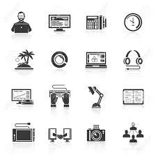 フリーランス アイコン時計ビジネス プラン レポート ノートブック黒分離ベクトル イラスト セット