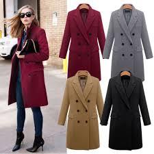 coats jackets vests women winter warm wool lapel long coat trench parka jacket overcoat outwear new