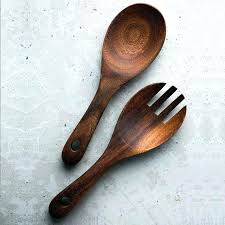 wooden kitchen spoon fork set big rice scoop salad mixing serving cutlery tableware spoons small