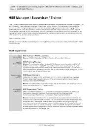 Coordinator Safety Resume Samples Velvet Jobs Hse Sample Examples