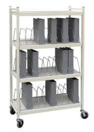 Mobile Chart Rack 30 Space Rolling Binder Cart Chart Pro